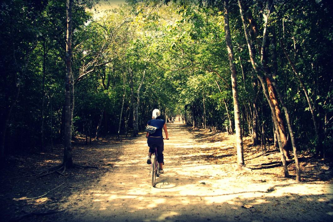 コバ遺跡で自転車